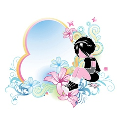 floral frame with emo kid vector image