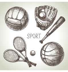 Hand drawn sports set Sketch sport balls vector image vector image