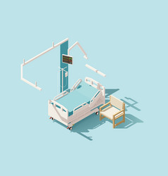 isometric low poly hospital bed vector image vector image