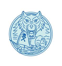 seawolf pirate ship circle mono line vector image vector image
