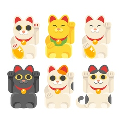 set of Japanese Lucky Cat Maneki Neko vector image