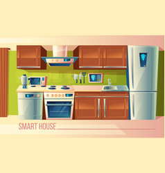 smart house wireless control of kitchen vector image vector image
