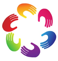 Teamwork hands logo vector image vector image