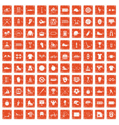 100 sport team icons set grunge orange vector