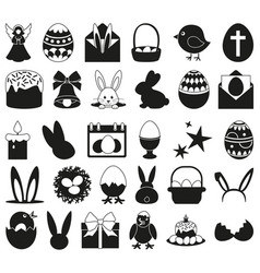 30 black and white easter elements set vector