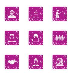 accomplishment icons set grunge style vector image