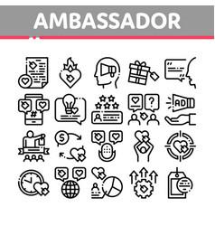 Ambassador creative collection icons set vector
