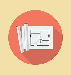 Architectural blueprint flat icon vector