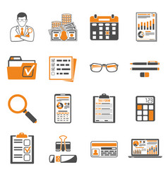 auditing tax accounting two color icons set vector image
