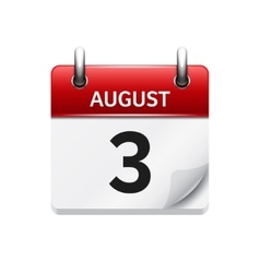 August 3 flat daily calendar icon Date vector