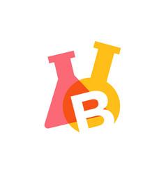 B letter lab laboratory glassware beaker logo icon vector