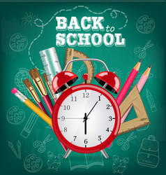 back to school card alarm clock and school tools vector image