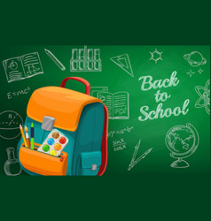 back to school sketch chalk lettering vector image