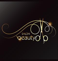 Beauty salon golden scissors and lock hair vector