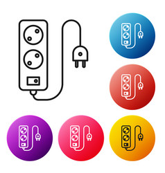 Black line electric extension cord icon isolated vector