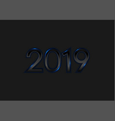 black new year 2019 with blue neon lights vector image