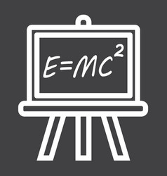 Blackboard line icon chalkboard and school vector