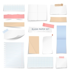 Blank Paper Sheets Strips Realistic Collection vector