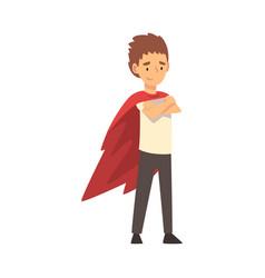 Boy in a superhero cloak cartoon vector