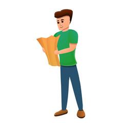 Boy map excursion icon cartoon style vector