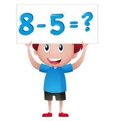 Boy with math problem sign vector