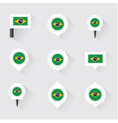 Brazil flag and pins for infographic and map vector