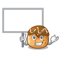 Bring board cartoon cooking takoyaki in baked fire vector