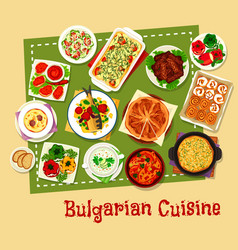 Bulgarian cuisine restaurant menu icon design vector