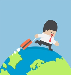 Businessman with suitcase walking around the world vector image