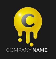 c letter splash logo yellow dots and bubbles vector image