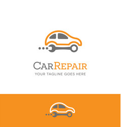 Car repair logo combines wrench and car vector