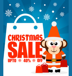 Christmas sale background with funny monkey vector