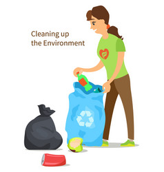 cleaning up environment woman collect garbage vector image