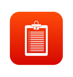 clipboard with check list icon digital red vector image