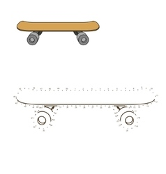Connect dots to draw skateboard educational game vector