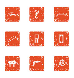 Construction of bridge icons set grunge style vector