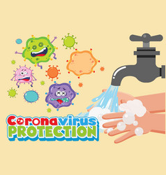coronavirus protection font with many virus vector image