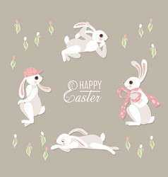 cute floral card with rabbits vector image