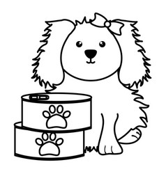 Cute little dog with can food character vector