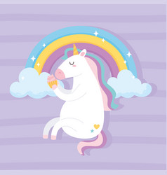 cute magical unicorn sitting with tasty cupcake vector image