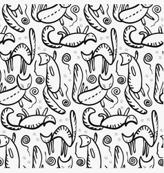 cute outline cats silhouette with whiskers pattern vector image