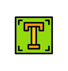 Designer font path program text flat color icon vector