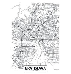 Detailed poster city map bratislava vector