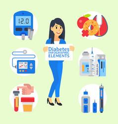 Doctor shows diabetes in vector