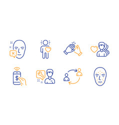 Face declined friend and repairman icons set man vector