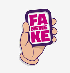 Fake news a hand hold a card on a white background vector