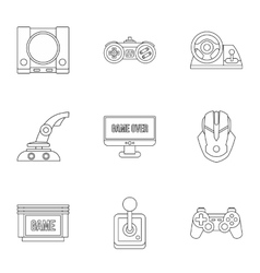 Fantasy games icons set outline style vector