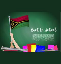 Flag of vanuatu on black chalkboard background vector
