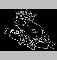 Frog prince with crown in black background vector