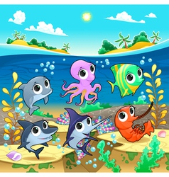 Funny marine animals in the sea vector